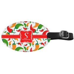 Colored Peppers Genuine Leather Luggage Tag (Personalized)
