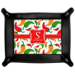 Colored Peppers Genuine Leather Valet Tray (Personalized)