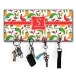 Colored Peppers Key Hanger w/ 4 Hooks w/ Name and Initial