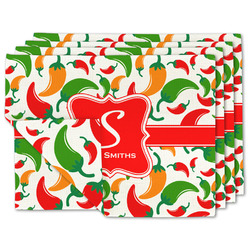 Colored Peppers Linen Placemat w/ Name and Initial