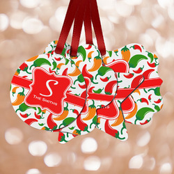 Colored Peppers Metal Ornaments - Double Sided w/ Name and Initial