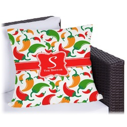 Colored Peppers Outdoor Pillow (Personalized)
