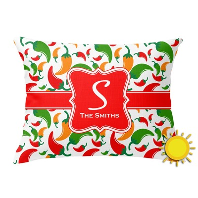 Colored Peppers Outdoor Throw Pillow (Rectangular) (Personalized)