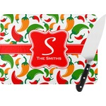 Colored Peppers Rectangular Glass Cutting Board (Personalized)