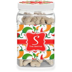 Colored Peppers Pet Treat Jar (Personalized)