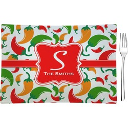 Colored Peppers Glass Rectangular Appetizer / Dessert Plate - Single or Set (Personalized)