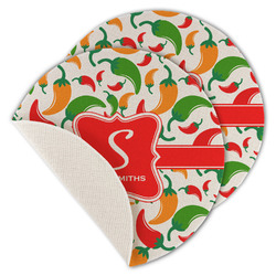 Colored Peppers Round Linen Placemat (Personalized)