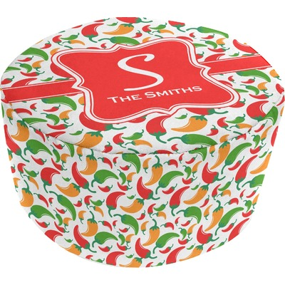 Colored Peppers Round Pouf Ottoman (Personalized)
