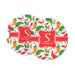 Colored Peppers Sandstone Car Coasters (Personalized)