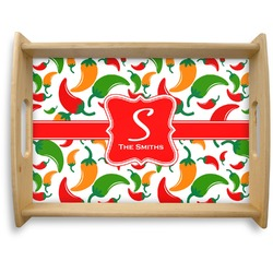 Colored Peppers Natural Wooden Tray - Large (Personalized)