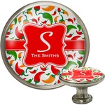 Colored Peppers Cabinet Knob (Silver) (Personalized)