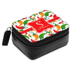 Colored Peppers Small Leatherette Travel Pill Case (Personalized)
