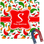Colored Peppers Square Fridge Magnet (Personalized)