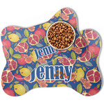 Pomegranates & Lemons Bone Shaped Dog Food Mat (Personalized)