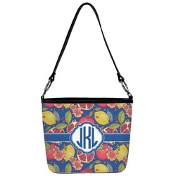 Pomegranates & Lemons Bucket Bag w/ Genuine Leather Trim (Personalized)
