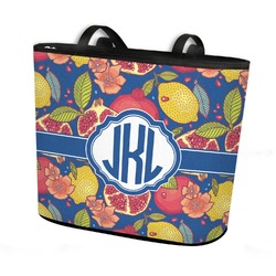Pomegranates & Lemons Bucket Tote w/ Genuine Leather Trim (Personalized)