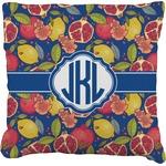 Pomegranates & Lemons Faux-Linen Throw Pillow (Personalized)