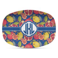 Pomegranates & Lemons Plastic Platter - Microwave & Oven Safe Composite Polymer (Personalized)