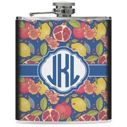 Pomegranates & Lemons Genuine Leather Flask (Personalized)