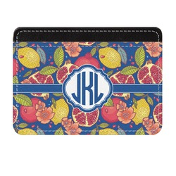 Pomegranates & Lemons Genuine Leather Front Pocket Wallet (Personalized)