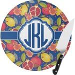 Pomegranates & Lemons Round Glass Cutting Board (Personalized)