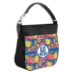 Pomegranates & Lemons Hobo Purse w/ Genuine Leather Trim (Personalized)