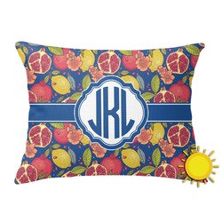 Pomegranates & Lemons Outdoor Throw Pillow (Rectangular) (Personalized)