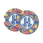 Pomegranates & Lemons Sandstone Car Coasters (Personalized)