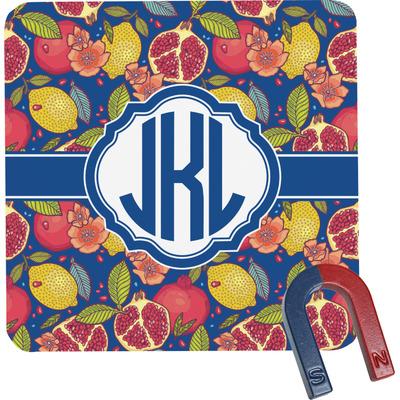 Pomegranates & Lemons Square Fridge Magnet (Personalized)