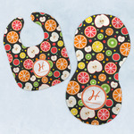 Apples & Oranges Baby Bib & Burp Set w/ Name and Initial