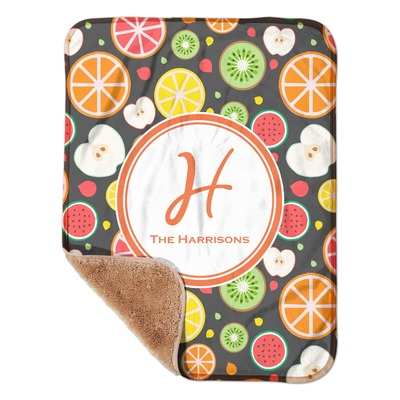 """Apples & Oranges Sherpa Baby Blanket 30"""" x 40"""" (Personalized)"""