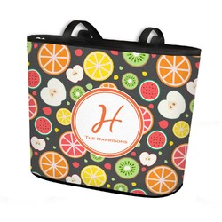 Apples & Oranges Bucket Tote w/ Genuine Leather Trim (Personalized)