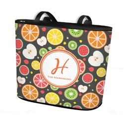 Apples & Oranges Bucket Tote w/ Genuine Leather Trim (Personalized)