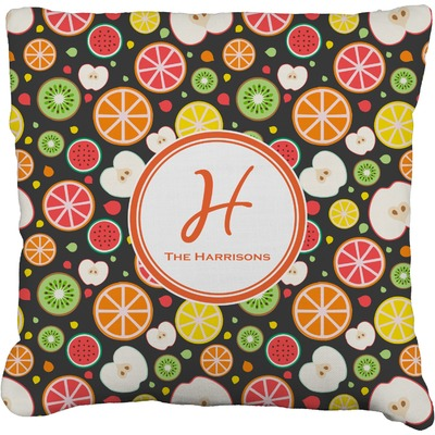 "Apples & Oranges Faux-Linen Throw Pillow 16"" (Personalized)"