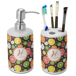 Apples & Oranges Bathroom Accessories Set (Ceramic) (Personalized)