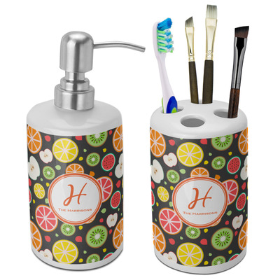 Apples & Oranges Ceramic Bathroom Accessories Set (Personalized)