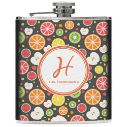Apples & Oranges Genuine Leather Flask (Personalized)