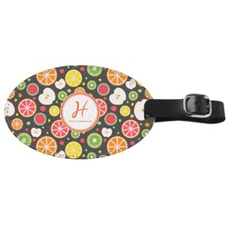 Apples & Oranges Genuine Leather Oval Luggage Tag (Personalized)