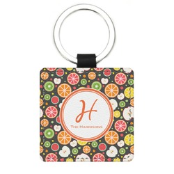 Apples & Oranges Genuine Leather Rectangular Keychain (Personalized)