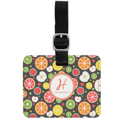 Apples & Oranges Genuine Leather Luggage Tag w/ Name and Initial