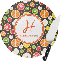 Apples & Oranges Round Glass Cutting Board (Personalized)