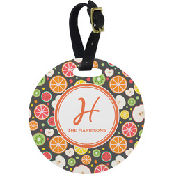 Apples & Oranges Round Luggage Tag (Personalized)