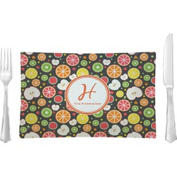 Apples & Oranges Glass Rectangular Lunch / Dinner Plate - Single or Set (Personalized)
