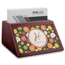 Apples & Oranges Red Mahogany Business Card Holder (Personalized)