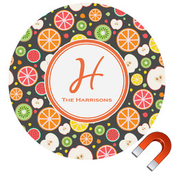 Apples & Oranges Round Car Magnet (Personalized)