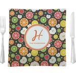 """Apples & Oranges Glass Square Lunch / Dinner Plate 9.5"""" - Single or Set of 4 (Personalized)"""