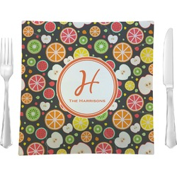 "Apples & Oranges 9.5"" Glass Square Lunch / Dinner Plate- Single or Set of 4 (Personalized)"