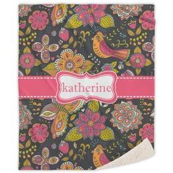 "Birds & Butterflies Sherpa Throw Blanket - 50""x60"" (Personalized)"