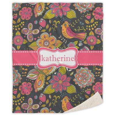 Birds & Butterflies Sherpa Throw Blanket (Personalized)