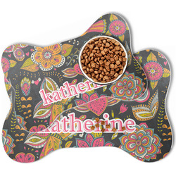Birds & Butterflies Bone Shaped Dog Food Mat (Personalized)